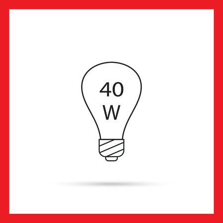 filament: Line icon of lightbulb with 40W power sign inside