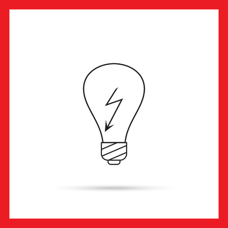 electricity danger of death: Line icon of lightbulb with high voltage sign inside