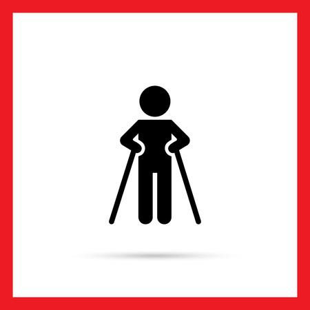 Icono del hombre silueta caminando con muletas