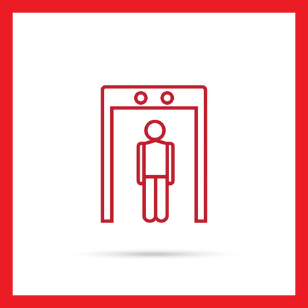 detector: Icon of mans silhouette going through metal detector gate Illustration