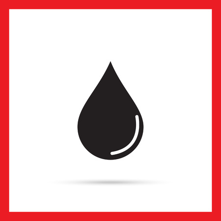 hematology: Vector icon of liquid drop with reflection