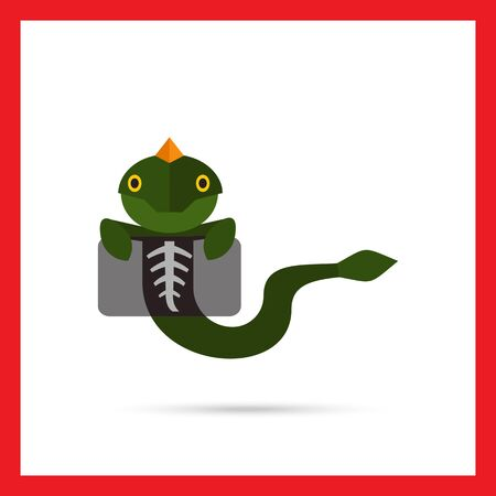 xray: Multicolored vector icon of lizard making chest X-ray
