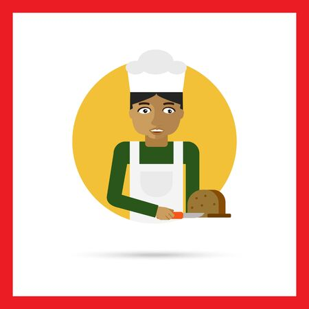 young knife: Male character, portrait of young baker cutting bread with knife