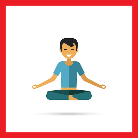doing: Multicolored vector icon of sitting man doing yoga