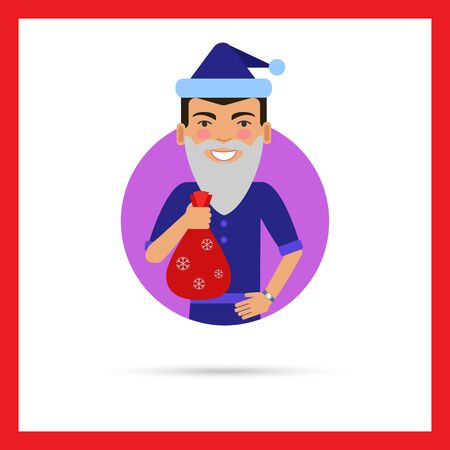 wearing santa hat: Male character, portrait of smiling man wearing Santa hat and fake beard, holding sack with gifts
