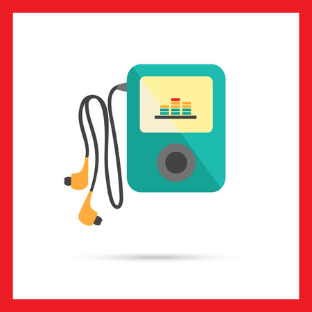 mp3: Icon of mp3 player with in-ear headphones