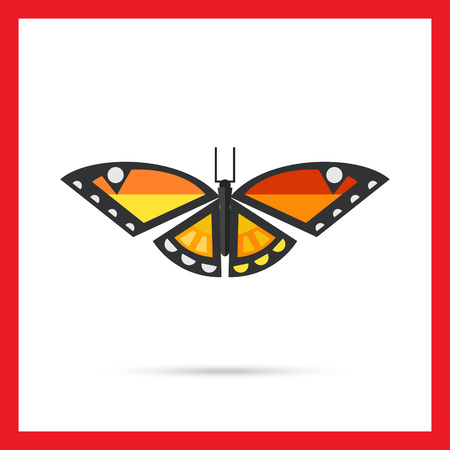 arthropods: Multicolored vector icon of orange butterfly with black stripes and white spots Illustration