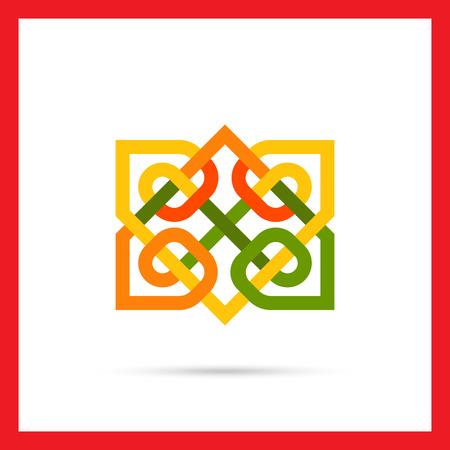 celtic: Vector icon of multicolored Irish Celtic ornament