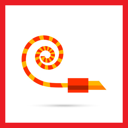 blower: Multicolored vector icon of noisemaker blower horn