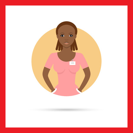 african american: Female character, portrait of young African American nurse