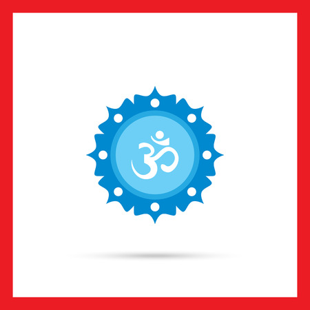 om sign: Icon of om sign on background with floral elements Illustration