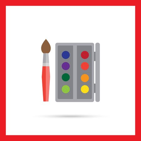 bristles: Icon of open watercolors box and brush Illustration