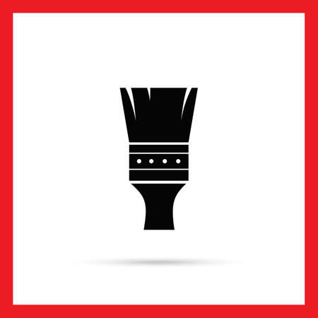 brush painting: Vector icon of black painting brush silhouette