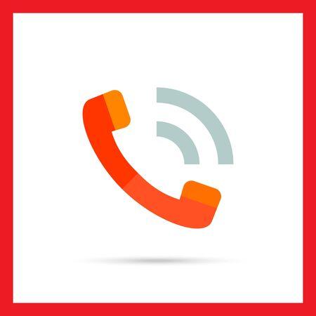 phoning: Vector icon of phone orange handset isolated on white