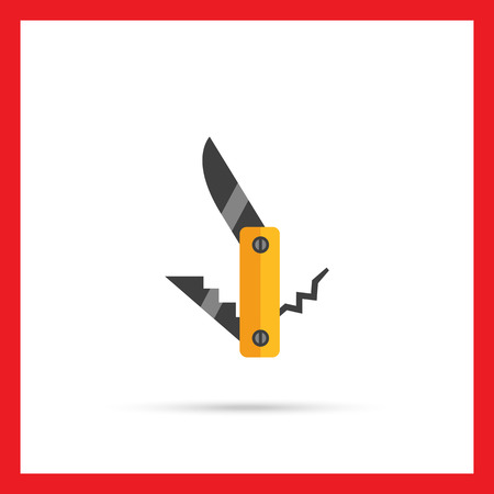 knife fork: Multicolored vector icon of pocket knife, fork and corkscrew