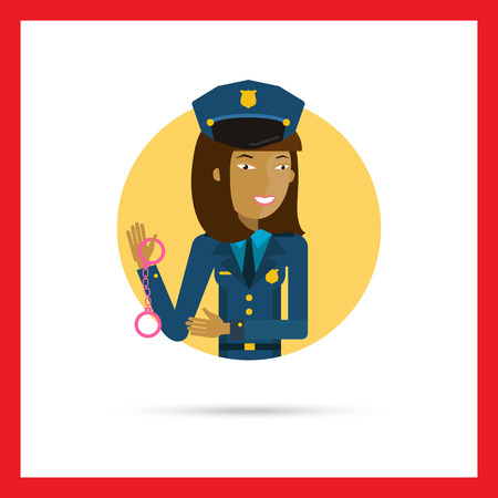 handcuffs female: Female character, portrait of young Asian policewoman holding handcuffs Illustration
