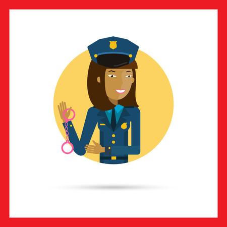 femme policier: Personnage f�minin, portrait de jeune polici�re tenant menottes asiatiques