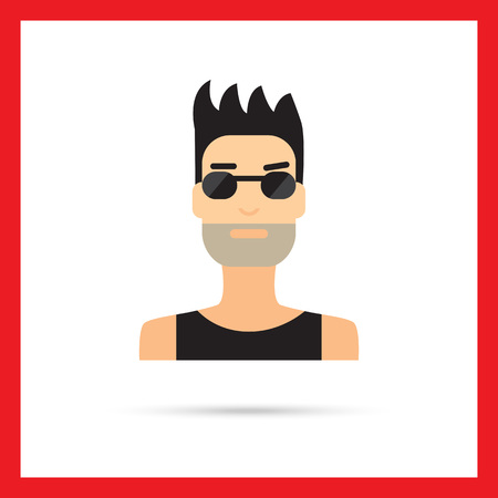 underwaist: Male character icon, portrait of young man with bristle wearing sunglasses