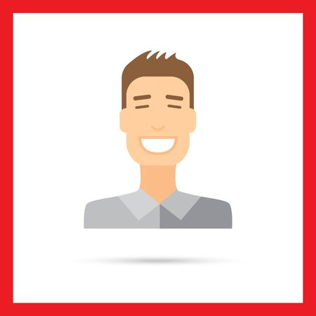 smiling young man: Male character icon, portrait of smiling young man