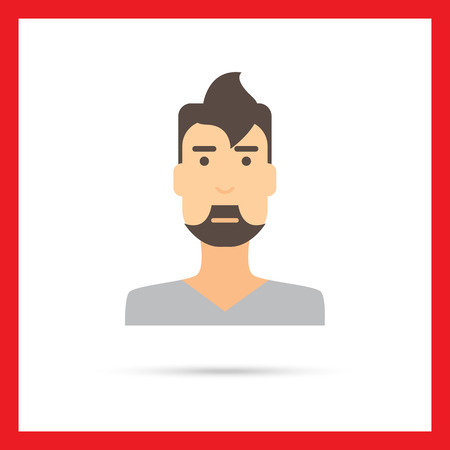 v neck: Male character icon, portrait of young man with beard Illustration