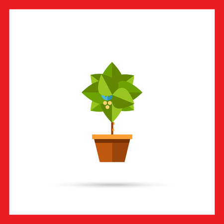 potting soil: Multicolored vector icon of small blooming tree in pot Stock Photo