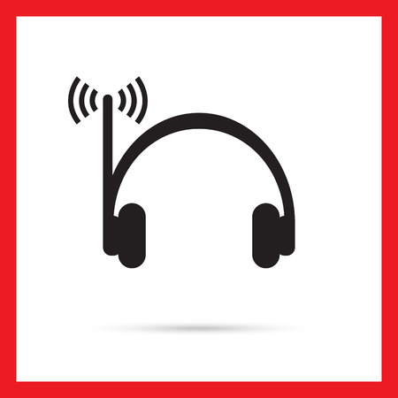 aerial: Vector icon of radio headphones with aerial and signal