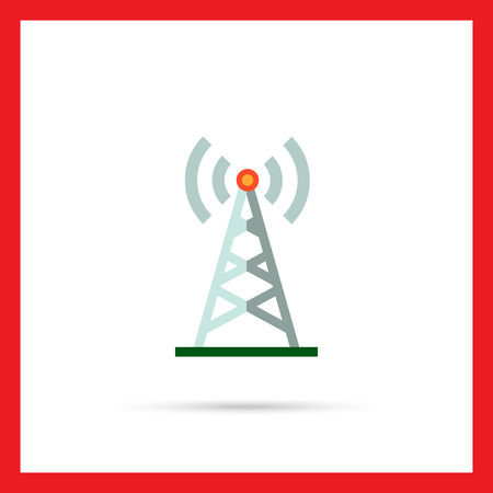 radio tower: Multicolored vector icon of radio tower transmitting signal