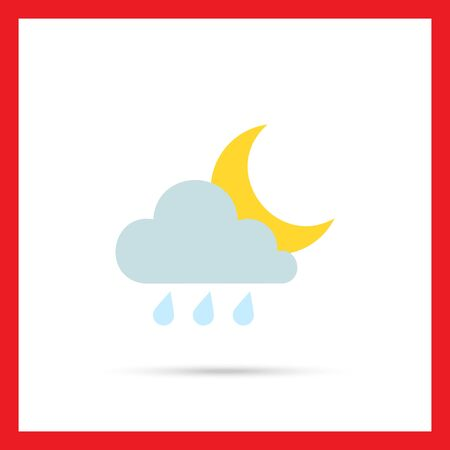 rain weather: Icon of cloud with raindrops and moon