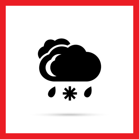 humidity: Icon of clouds with falling snowflake and raindrops