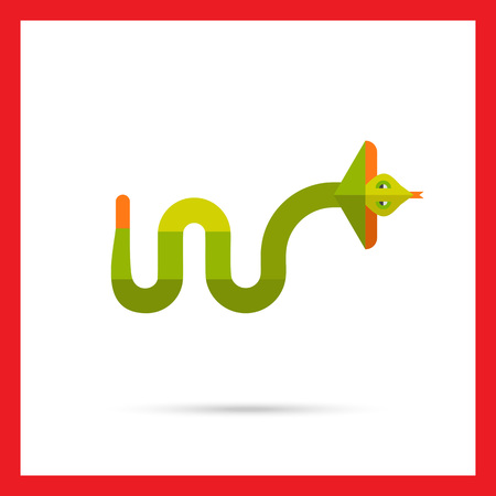 serpiente de cascabel: icono de vectores multicolor de la serpiente de cascabel verde del arrastramiento