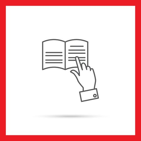 manual: Icon of man hand tracing text with finger while reading