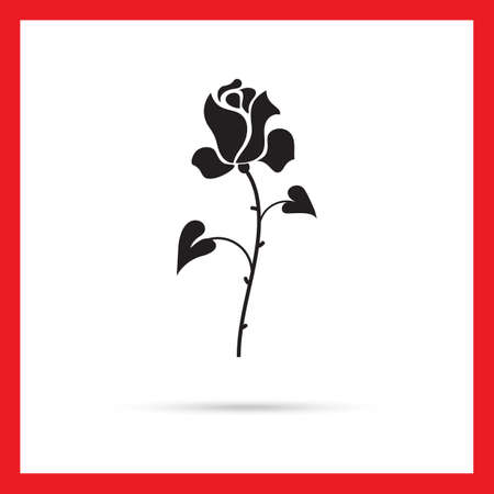 thorns: Vector icon of rose with stem, thorns and leaves