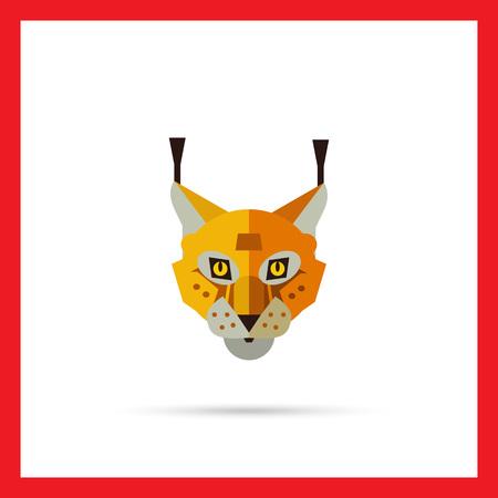 lynx: Multicolored vector icon of red lynx head