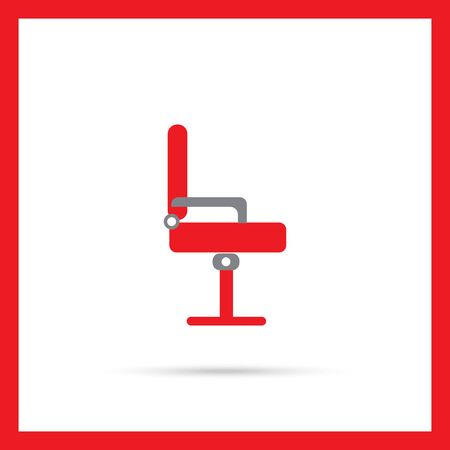 side view: Icon of red office chair, side view