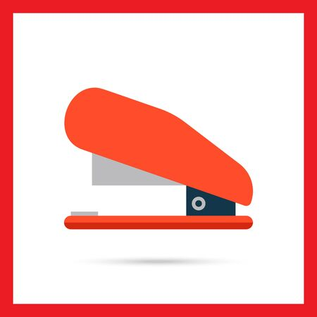 puncher: Multicolored vector icon of red stapler, side view
