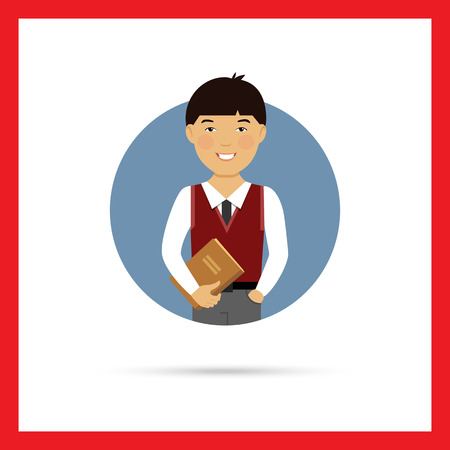 schoolboy: Male character, portrait of smiling Asian schoolboy holding book