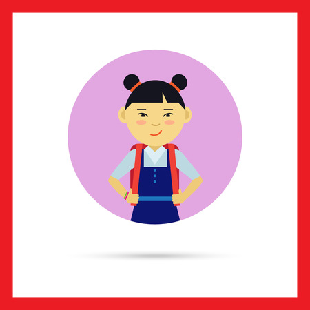 pinafore: Female character, portrait of smiling Asian school girl with backpack Illustration