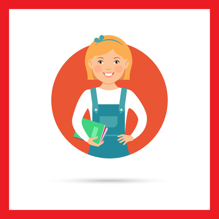 pinafore: Female character, portrait of smiling schoolgirl holding notebooks Illustration
