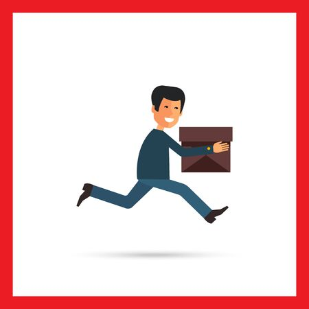 delivery service: Multicolored vector icon of running delivery man with carton box