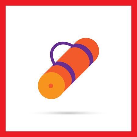 mat: Vector icon of rolled-up orange tourist mat Illustration