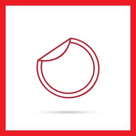 unstuck: Icon of round sticker with unstuck corner