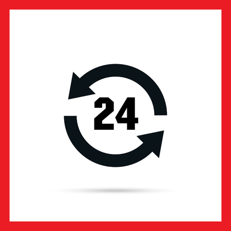 twenty four hour: Icon of round-the-clock sign in circle arrows