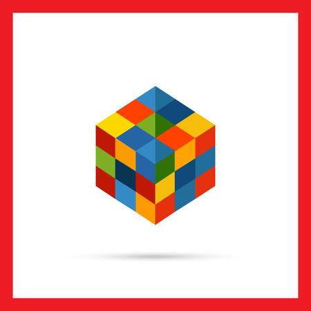 rubik: Multicolored vector icon of square rubik cube Illustration