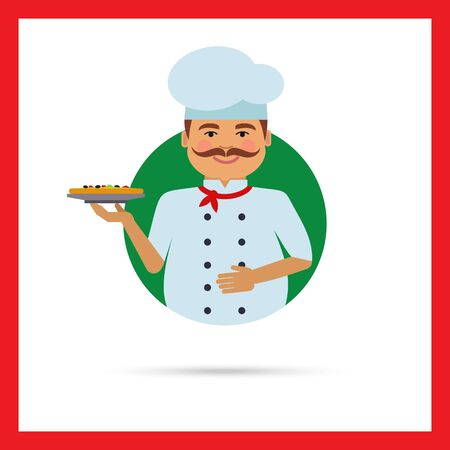 middle aged man: Male character, portrait of smiling male chef with moustache, holding plate with pizza