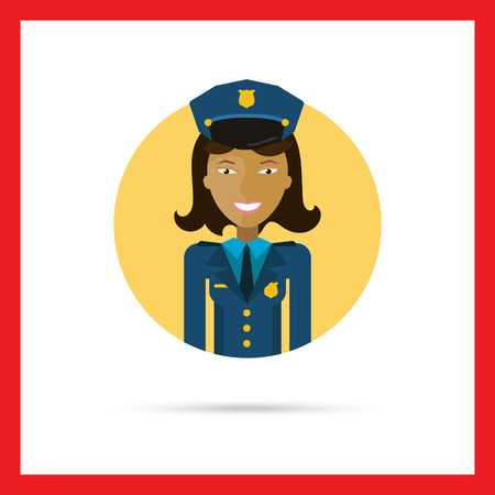 policewoman: Female character, portrait of young Asian smiling policewoman Illustration