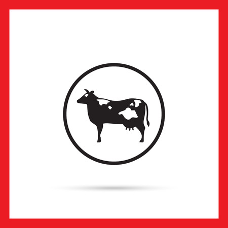 cow silhouette: Vector icon of cow silhouette in circle