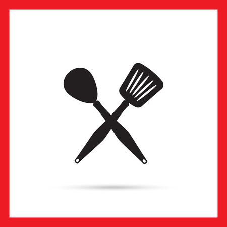heatproof: Icon of crossed spoon and turner Illustration
