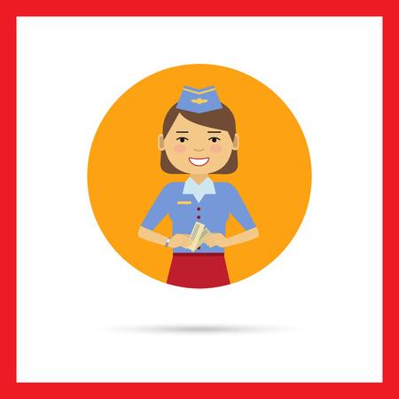 air hostess: Personnage féminin, portrait de sourire hôtesse de l'air qui détiennent des billets Illustration