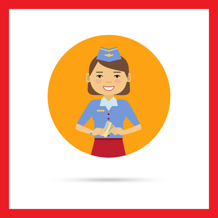 Female character, portrait of smiling air hostess holding tickets Illustration
