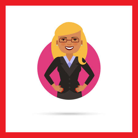 akimbo: Female character, portrait of smiling businesswoman with hands akimbo
